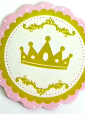Aplique Pequeno Coroa Rosa Realeza (30 unid.)