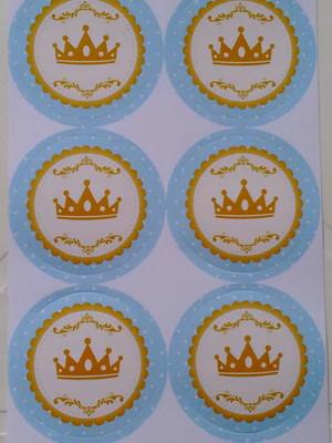 Adesivo Redondo Coroa Azul Realeza - 4cm (30 unid.)