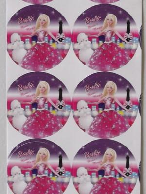 Adesivo Redondo Barbie Moda e Magia - 4cm (30 unid.)