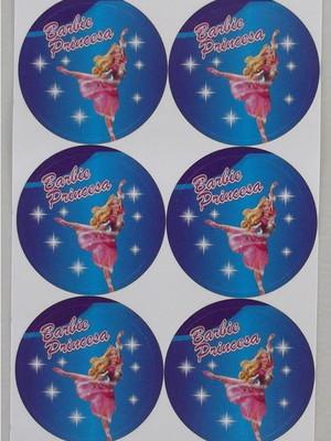 Adesivo Redondo Barbie Princesa - 4cm (30 unid.)
