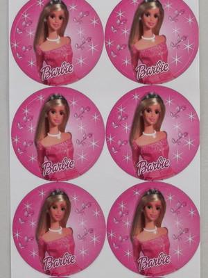 Adesivo Redondo Barbie Rosa - 4cm (30 unid.)