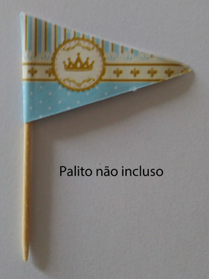 Topper Tag Bandeirinha Coroa Azul (30 unid.)