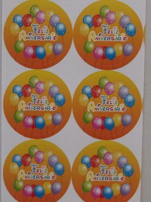 Adesivo Redondo Feliz Aniversario 4cm (30 unid.)
