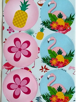 Adesivo Redondo Flamingo 4cm (30 unid.)