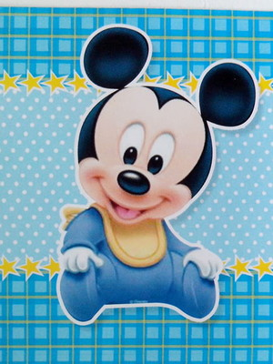 Adesivo Quadrado Mickey Baby 7x7cm (20 unid.)