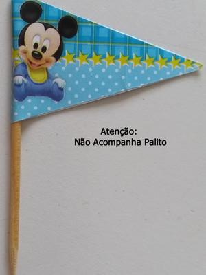 Topper Tag Bandeirinha Mickey Baby (30 unid.)