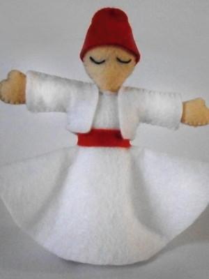 Boneco decorativo em feltro Dançarino Sufi - branco