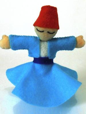 Boneco decorativo em feltro Dançarino Sufi - azul