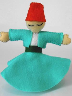 Boneco decorativo em feltro Dançarino Sufi - turquesa