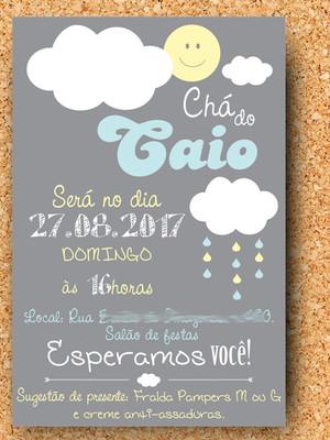 Arte Convite Nuvem Chuva Chá (digital)