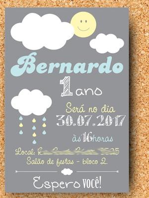 Convite Nuvem Aniversário Chuva (digital)