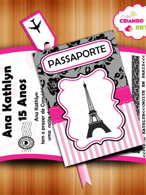 Arte Digital Convite Passaporte Paris
