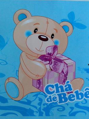 Adesivo Quadrado Chá de Bebe Ursinho Azul 7x7cm (20 unid.)
