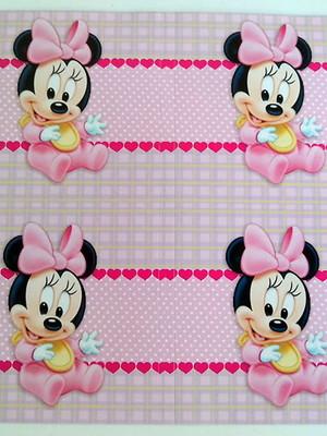 Adesivo Quadrado Minnie Baby 7x7cm (20 unid.)