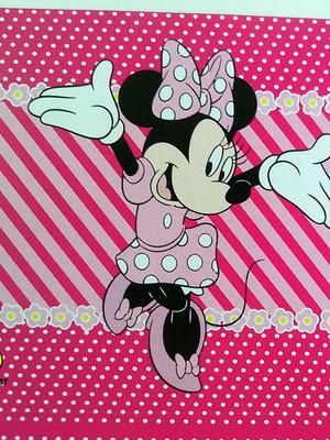 Adesivo Quadrado Minnie Rosa 7x7cm (20 unid.)