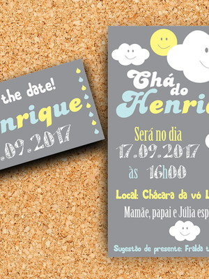 Convite + Save the Date festa Nuvem - digital
