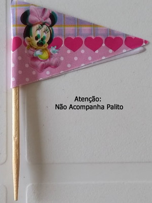Topper Tag Bandeirinha Minnie Baby (30 unid.)