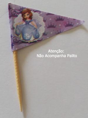 Topper Tag Bandeirinha Princesinha Sofia (30 unid.)