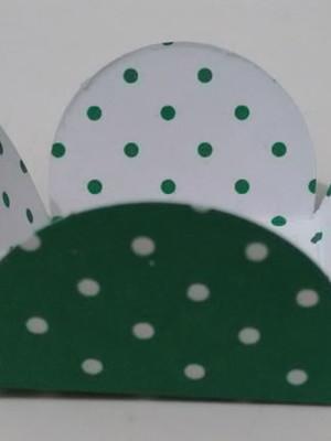Forminha Poa Branco Verde (50 forminhas)
