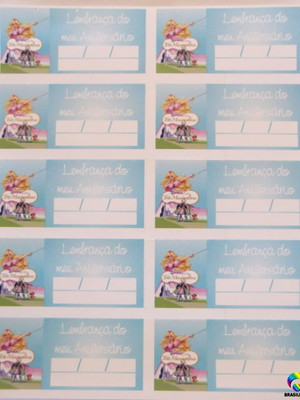 Tag Lembrancinha Barbie Tres Mosqueteiras(30 unid.)