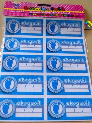Tag Lembrancinha Cheguei Pezinhos Azul (30 unid.)