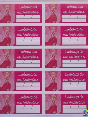 Tag Lembrancinha Cinderela Rosa (30 unid.)
