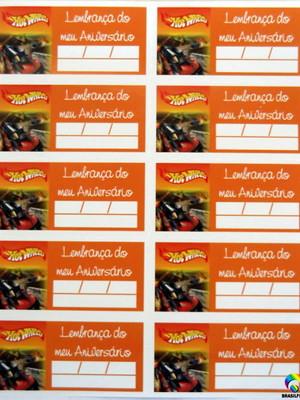 Tag Lembrancinha Hot Wheels (30 unid.)