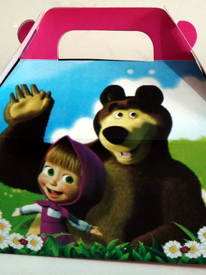 Caixa Box Pequena Masha Urso(01 unid.)