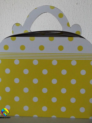 Caixa Maleta Poa Amarelo e Branco(01 unid.)