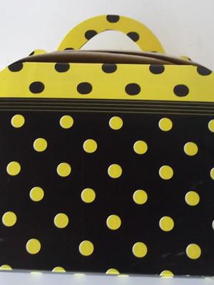 Caixa Maleta Poa Preto Amarelo (01 unid.)