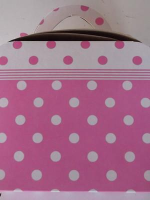 Caixa Maleta Poa Rosa e Branco(01 unid.)