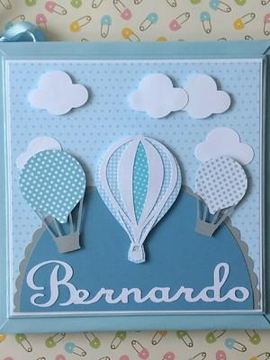 Livro Bebê personalizado menino balões nuvens tons de azul