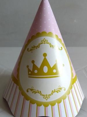 Chapéu Aniversario Realeza Coroa Rosa (08 unid.)