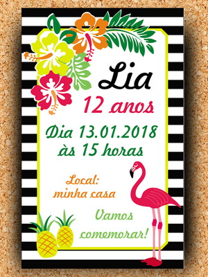 Convite aniversário Flamingo - Digital