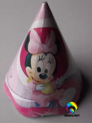 Chapéu Aniversario Minnie Rosa Baby (08 unid.)