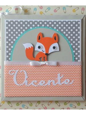 diário livro bebê menino personalizado raposinha floresta