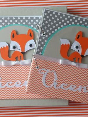scrapbook bebê menino e Caixa maternidade mensagem raposinha