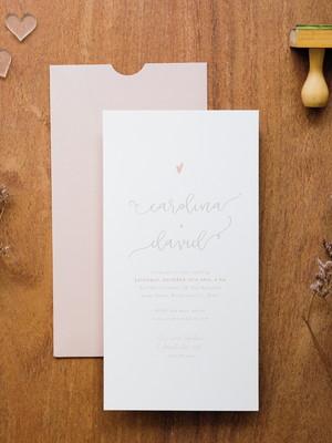 Convite Casamento Delicado Rosé