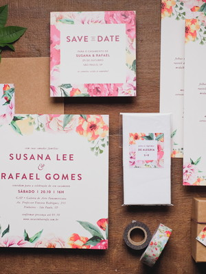 Convite Casamento Floral Tropical