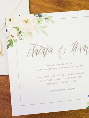 Convite Casamento Floral Delicado
