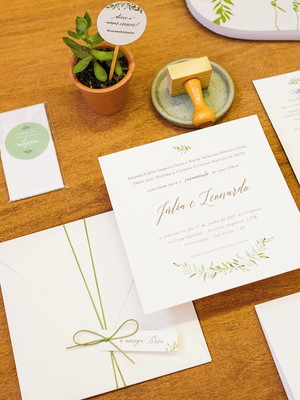 Convite Casamento Folhagens