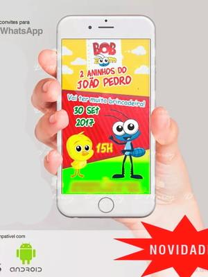 Convite Aniversário, Festa Infantil para Whatsapp - Bob Zoom