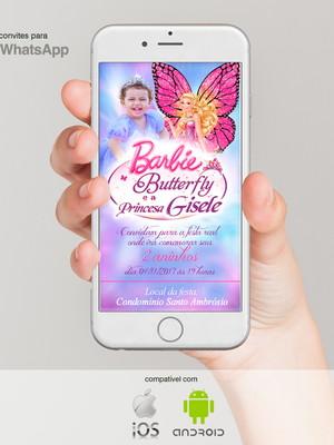 Convite Aniversário Barbie, arquivo para Whatsapp