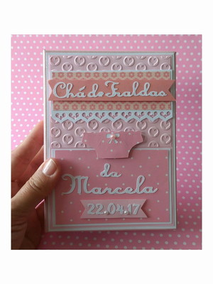 Álbum Personalizado para Chá de Bebê scrapbooking rosa claro