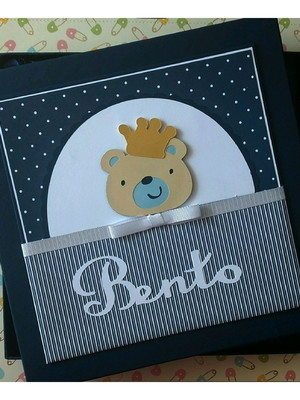 livro diário bebê e caixa menino ursinho príncipe scrapbook
