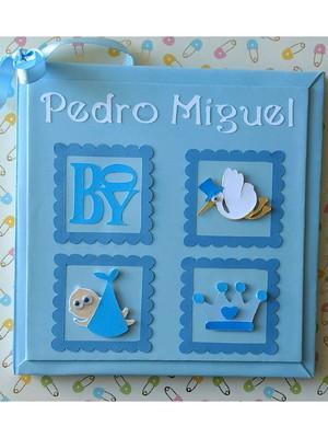 diário bebê menino príncipe azul claro personalizado scrapbo