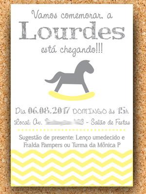 Convite Cavalinho Amarelo e Cinza Chevron - digital