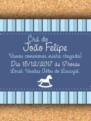 Convite Cavalinho Azul Marinho - digital