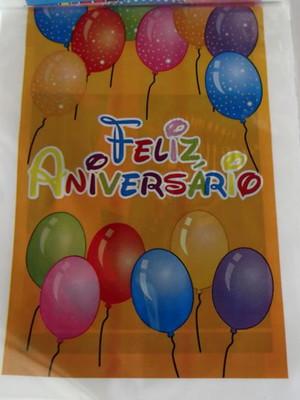 Sacola Plastica Feliz Aniversário (10 unidades)
