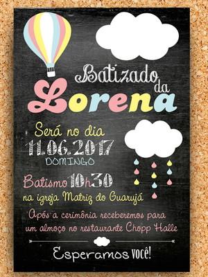 Convite Batizado Chalkboard Nuvem (digital)